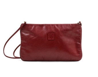 1980s Anne Klein purse • red leather purse • convertible clutch bag •  maroon leather bag • burgundy red clutch •