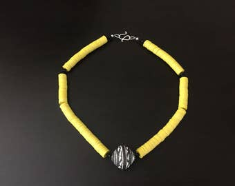 Afrocentric Jewelry - Mali Clay & Vinyl Bead Necklace