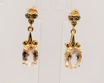 Morganite with Champagne Diamonds Dangle Earrings - 10 Karat yellow gold