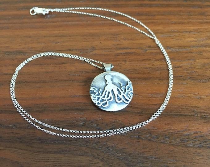 Fine Silver Octopus Pendant / Necklace  - Wild Grace Jewelry