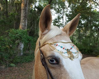 Southwest Chains Browband for Large Horse or Draft - Equine Bling Tack Jewelry - Metal Feathers Brow Band