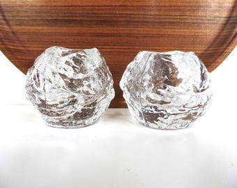 Pair of Kosta Boda Crystal Votive Snowballs, Scandinavian Icy Glass Candle Holders, Set Of 2 Snowball Candle Holders