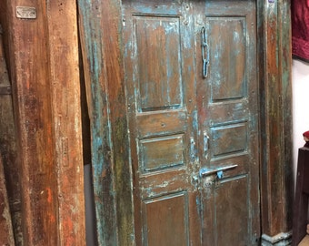 Antique INDIAN OM YOGA Doors Blue Patina Reclaimed Teak Doors & Frame Meditation yoga zen Sacred Space Decor Original Sanskrit Om