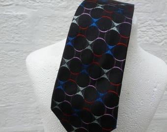 Necktie silk tie 1950s skinny mod scooter gift mans tie 50s fashion England vintage necktie suit tie wedding dad gift present vintage black.