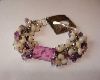 Peruvian Opal, Sugalite, Amethyst and Sapphire Bracelet in Sterling Silver
