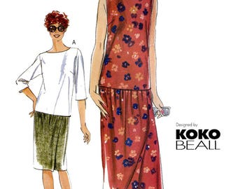 Vogue 7272 Koko Beall Pullover Top & Mock Wrap Straight Skirt in 2 Lengths Sewing Pattern - Very Easy