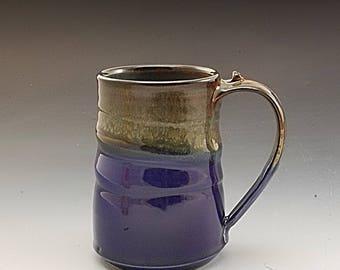 Pottery Mug Handmade Large Blue Brown Stoneware by Mark Hudak
