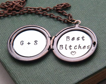 Personalized Locket Necklace, Initial Locket, Monogram Necklace, Best Bitches Necklace, Bitch Necklace, Best Friends Necklace, BBF Gift