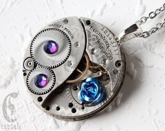 Steampunk Statement Necklace Pendant - Blue Rose Elgin Guilloche Etch Antique Pocket Watch Movement with AB Blue Swarovski Crystals Gift