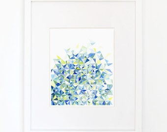 Abstract Triangles in Blue and Green - Watercolor Art Print