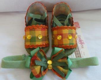 BS 028  Olive Green & Orange Sandals and Headband Set -  Sandals for baby girl - Baby Girl Sandals and Headband