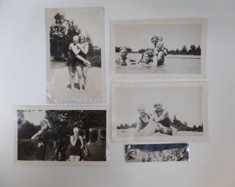 5 Black & White Vintage Photographs Women Swimming in Bathing Suits Snap Shots