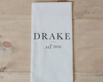 Personalized Tea Towel - Last Name With Line