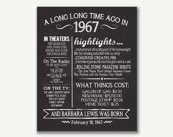 The Year 1967, Personalized 50th Birthday Printable Poster, Printable 50th Birthday Sign, Fun Facts 1967, 50th Birthday Gift, Digital File
