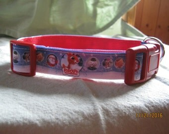 Adjustable Dog Collar, Handmade, Rudolph the Red Nosed Reindeer  Design,  Choose M ~ L / XL