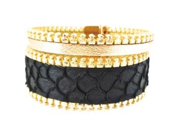 Bracelet cuir de poisson Tilapia noir ,veau doré biais à glissière doré