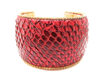 Leatherette Burgundy and gold beadwork Cuff Bracelet