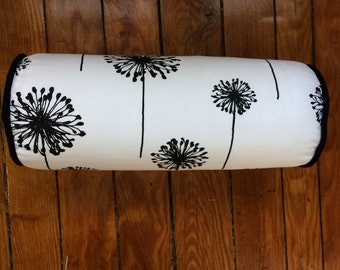 Black Dandelion Bolster Pillow Cover, Floral Bolster Pillow Cover, 6''x16''