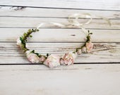 Handcrafted Blush and Ivory Rose Flower Crown - Woodland Flower Crown - Wedding Hair Accessory - Pastel Pink Roses - Flower Girl Halo - Bows