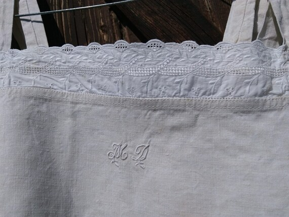 Victorian Natural Linen Dress Monogram Eyelet Lace Trim French Nightgown or Slip Medium  #sophieladydeparis
