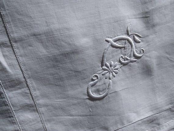 Victorian White Pillow Case Handmade French Linen Bourdon Stitch Monogram Hand Embroidered #sophieladydeparis