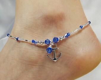 Anklet Ankle Bracelet, Anchor Anklet, Royal Blue Anklet Beach Anklet Beach Jewelry Dangle Anklet Crystal Anklet Beaded Anklet Ankle Jewelry