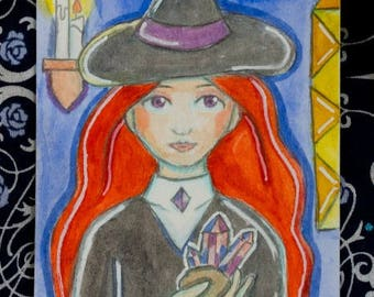 ACEO Original Drawing - Artist Trading Card - Crystal Amethyst Witch, Illustration