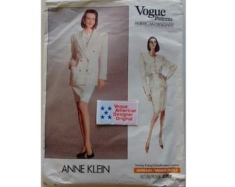 """Part UNCUT Vogue 2067 American Designer Anne Klein Vintage 80's Jacket, Top & Skirt Suit 2 Sizes Bust 34"""" 36"""""""