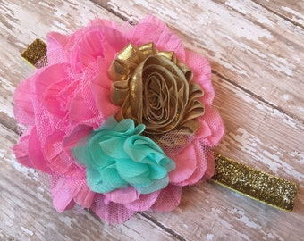 Large pink, teal and gold baby headband, Mermaid Headband gold, pink and mint mermaid baby headband, gold glitter elastic, 1st birthday bow
