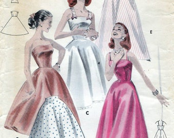 50s Butterick slip sewing pattern, Butterick 7956, bust 34 inches, hip 36 inches, vintage sewing pattern