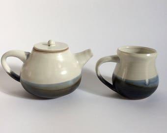 Tea Set for One, Matching Ceramic Teapot and Teacup
