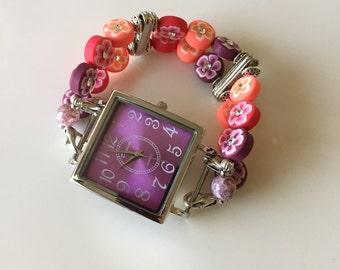 Womens Hippie Pinks Watch, Womens Watch, Womens Interchangeable Watch, Womens Double Stranded Watch, Womens Beaded Watch Set (318)
