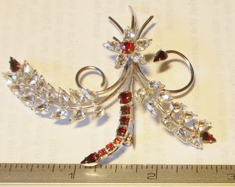 Vintage Jay Flex Pin Brooch Sterling Silver Flower Spray Clear Red Rhinestones EUC Giftable Mother's Day