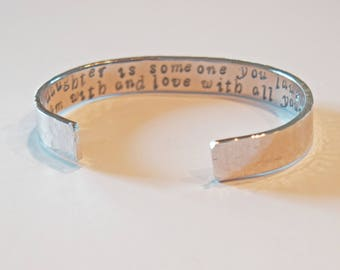 """Hand Stamped Cuff Bracelet """"A daughter is someone you laugh with, dream with and love with all your heart"""""""