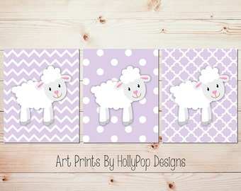 Purple nursery art Baby lamb nursery decor Girl nursery artwork Baby girl decor Lavender nursery Girl nursery prints Baby wall prints #1737