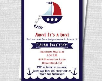 Boy Sailboat Baby Shower Invitation - Nautical Baby Shower - Boy Baby Shower - Digital Design or Printed Invitations - FREE SHIPPING