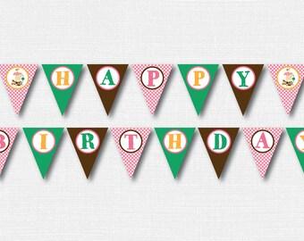 Girl Barnyard Birthday Banner - Barnyard Themed Party Banner - Happy Birthday Bunting - Farm Birthday - INSTANT DOWNLOAD