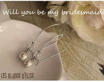 Sale - White Glass Bead Long Earrings  Antique Silver Bridesmaid Gift