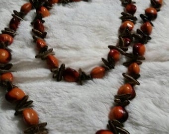 On Sale Metal Free Island Style  40 inch Necklace with Bright Orange and Brown Seeded Beads Costume Jewelry Fashion Accessory