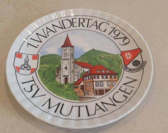 On Sale Bavarian Porcelain 1.Wandertag 1979 TSV Mutlangen Souvenir Plate or Wall Hanging Made in Germany