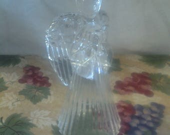 On Sale Praying Angel Leaded Crystal Candle Holder Holiday Decor Collectible Glass