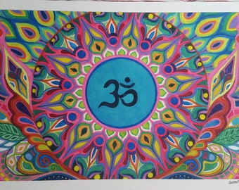 Aum Mandala Watercolor Visionary Art Print