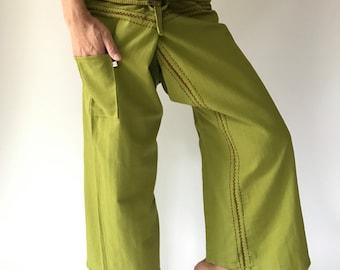 FZ0039 Hand Sewing Inseam design for Thai Fisherman Pants Wide Leg pants, Wrap pants, Unisex pants, Thai Fisherman Pants, Cotton