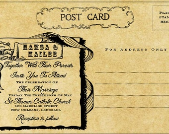 Printable New Orleans Wedding Invitation Post Card   Vintage Theme