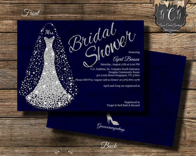 wedding dress invitation bridal shower invitation wedding shower invitation bridal shower invitations bling invitation navy - Bed Bath And Beyond Wedding Invitations