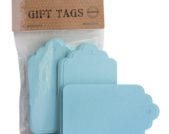 Scallop Gift Label Favours Cards Place Name Blank Paper - Light Blue
