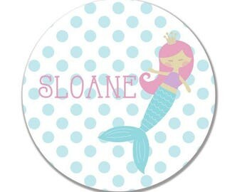 personalized Melamine Plate - custom melamine birthday mermaid