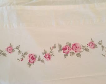 Simply Shabby Chic Full Flat Sheet // Pink Floral Double, Flat Sheet
