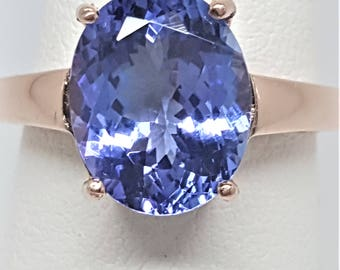4.52ct Oval Blue Purple Tanzanite 14kt Rose Gold Ring Size 6.75