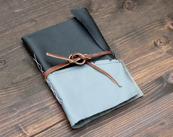 Watercolor Black & Gray Leather Journal